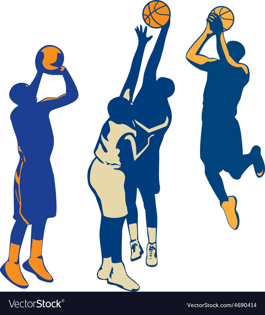 Basketball player shoot ball retro collection vector