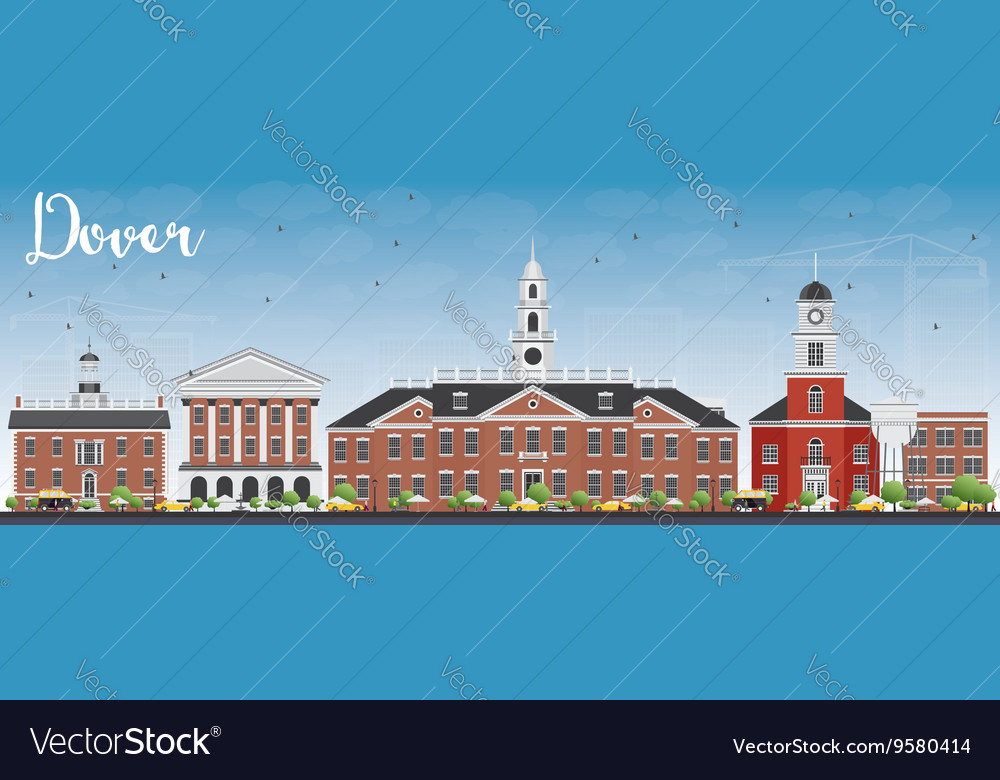Dover skyline with color buildings vector