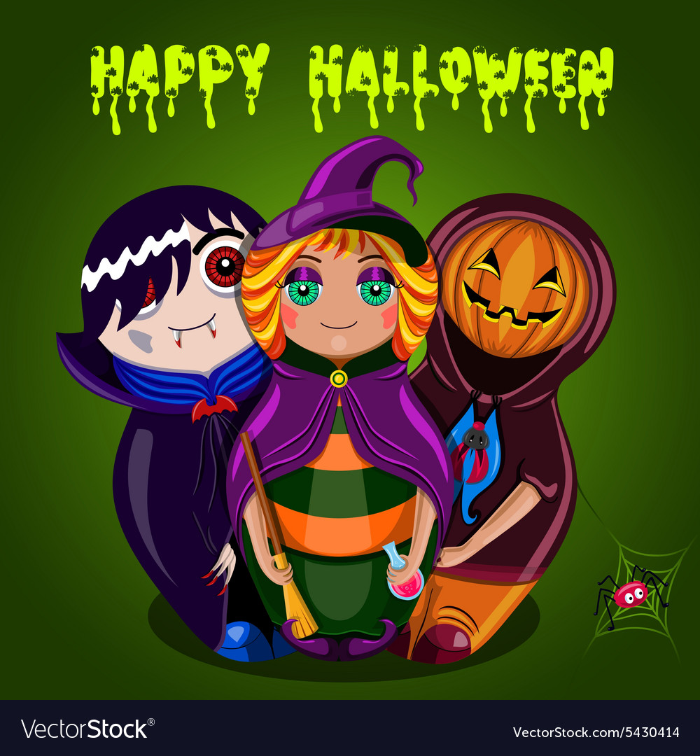 Happy halloween dolls vector