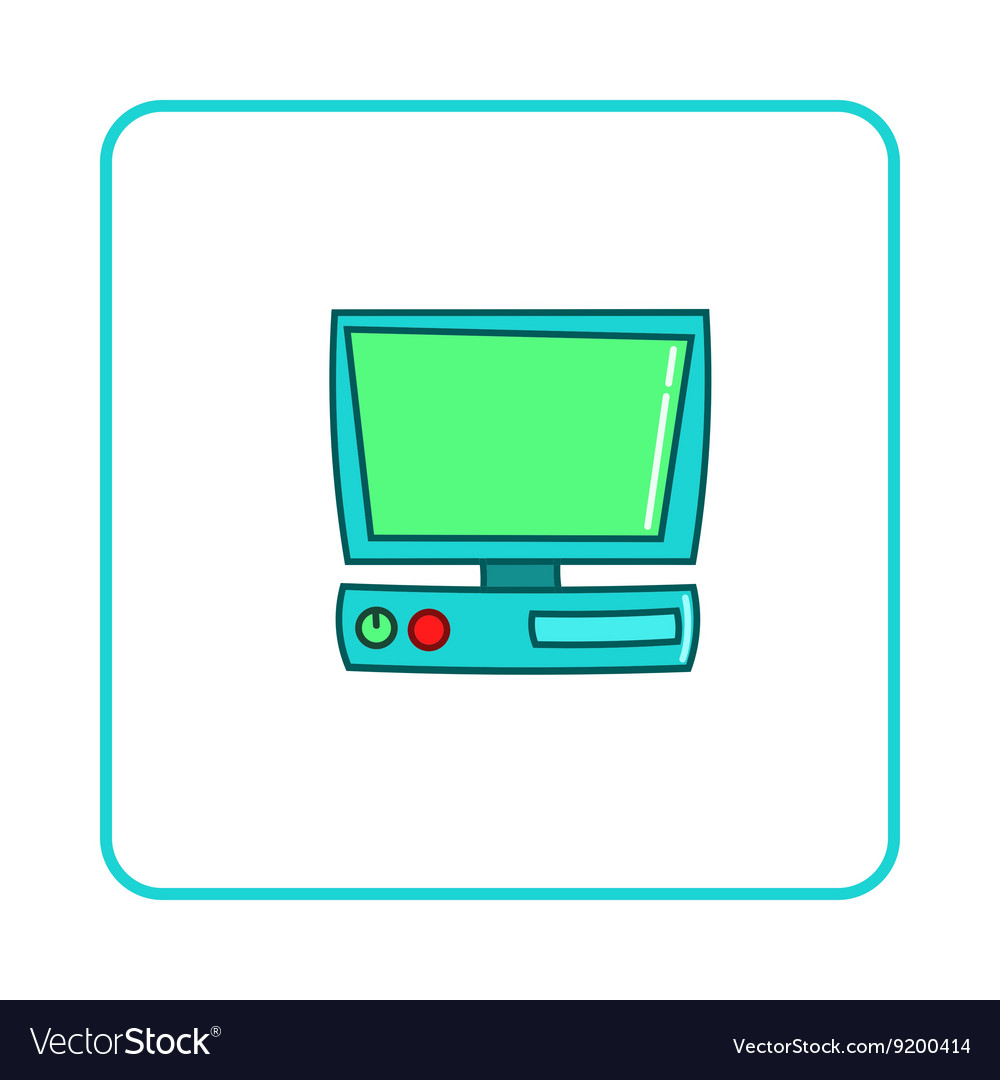 Old computer icon simple style vector