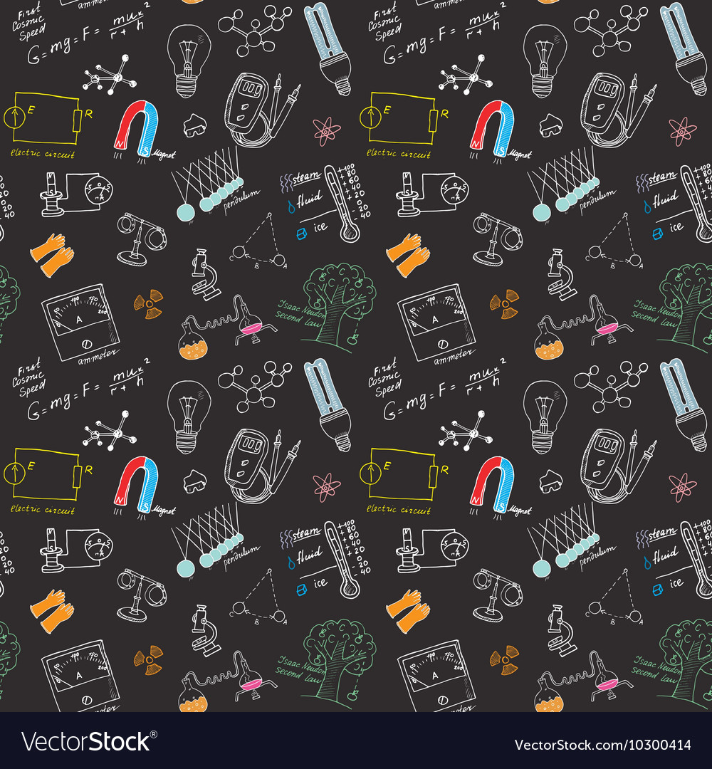 Physics and sciense seamless pattern with sketch vector