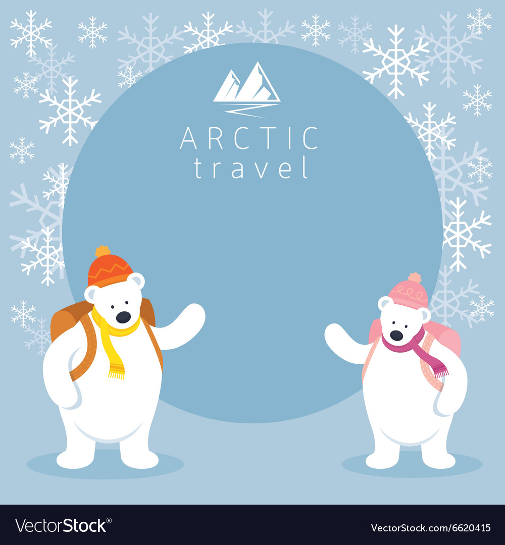 Couple arctic polar bear backpacker frame vector