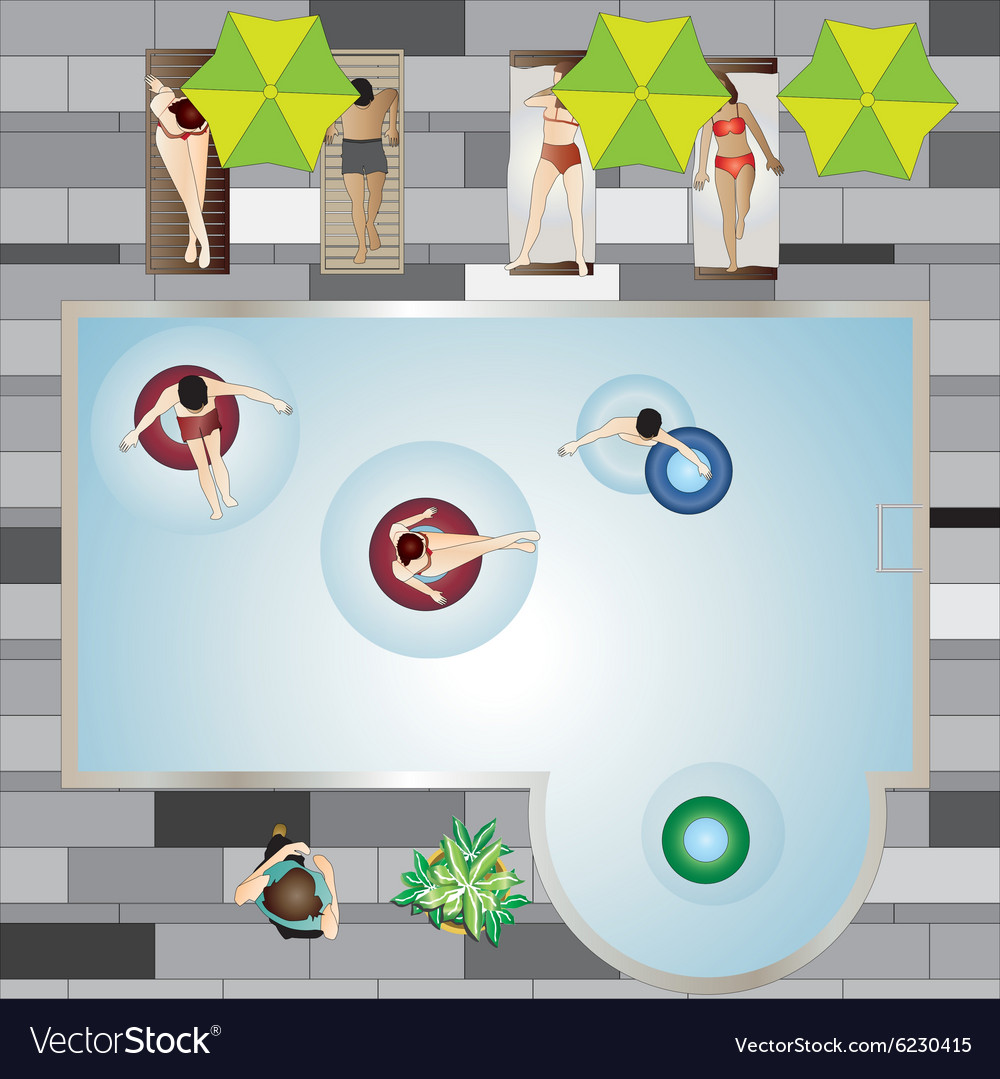 People pool and beach top view set 3 vector