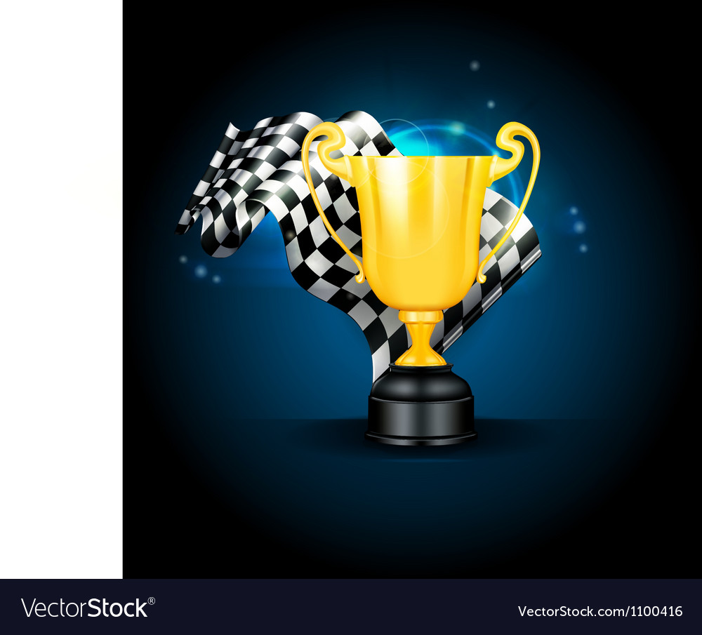 Golden trophy and flag vector