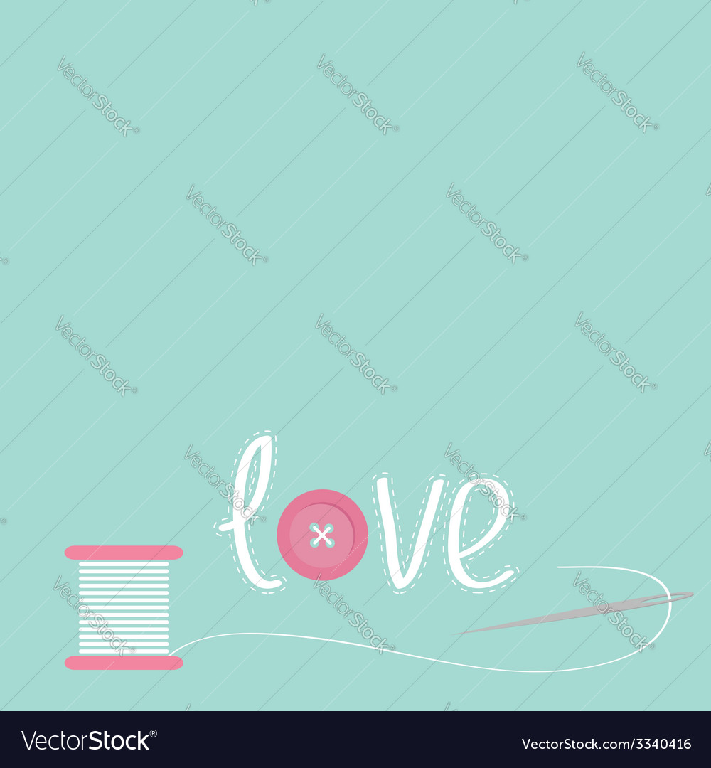Needle and spool of thread with button applique vector