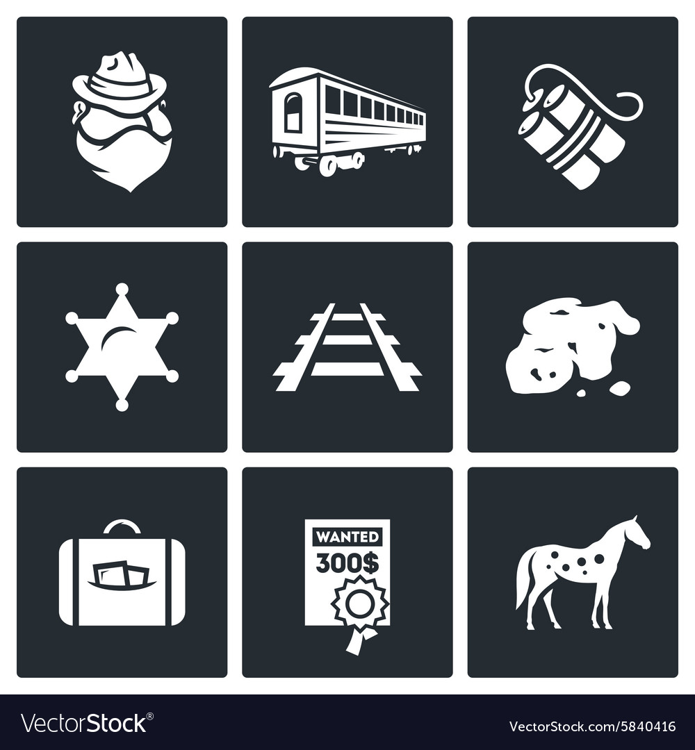 Train robbery in the wild west icons set vector