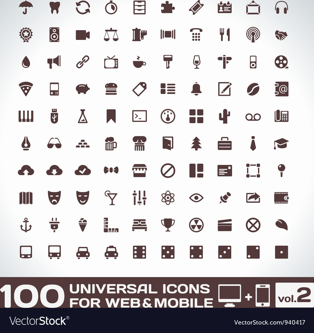 100 universal icons for web and mobile volume 2 vector