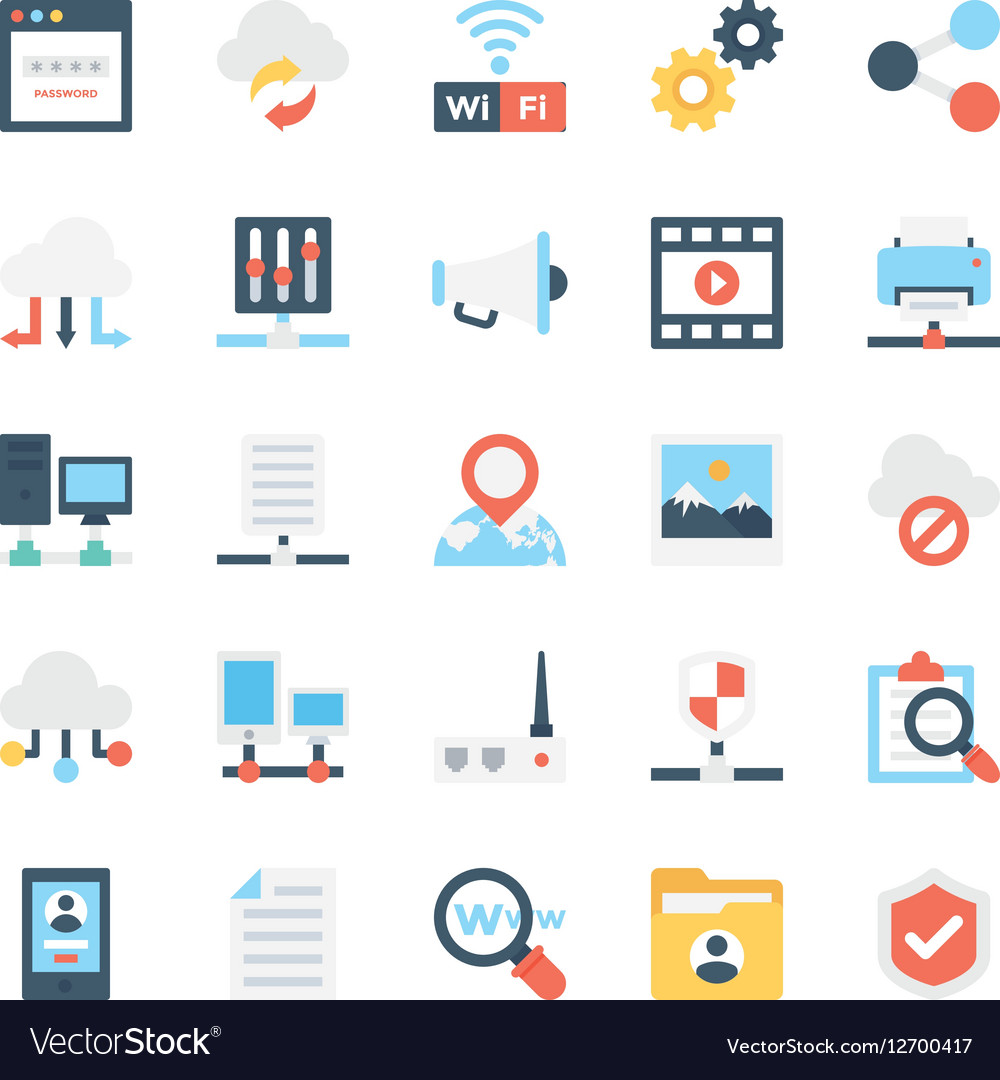 Network and communications icons 2 vector