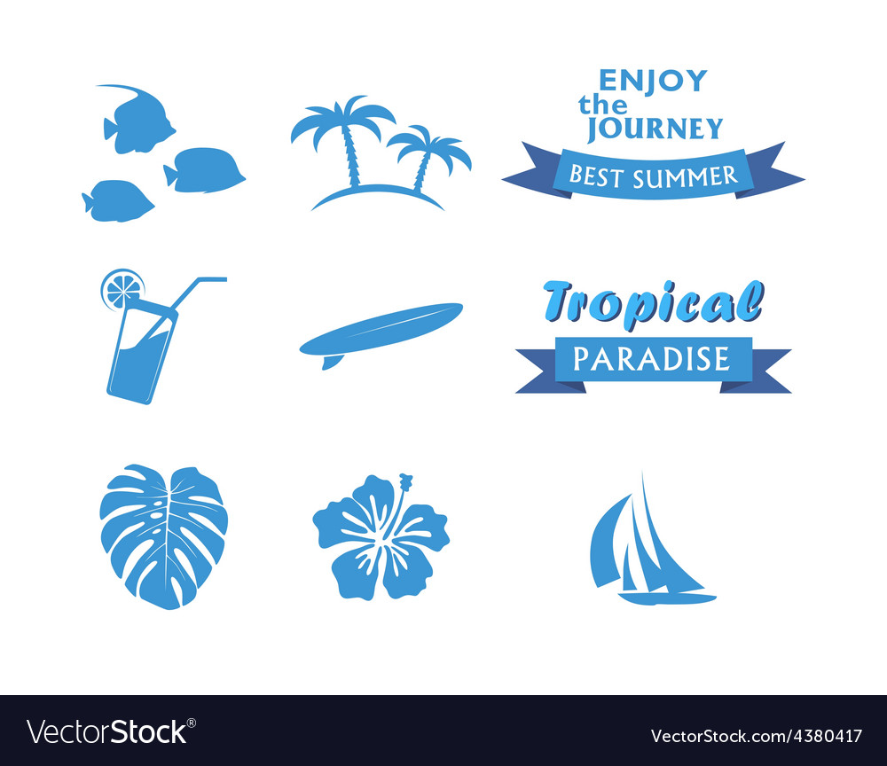 Set of tropical icons in flat style vector