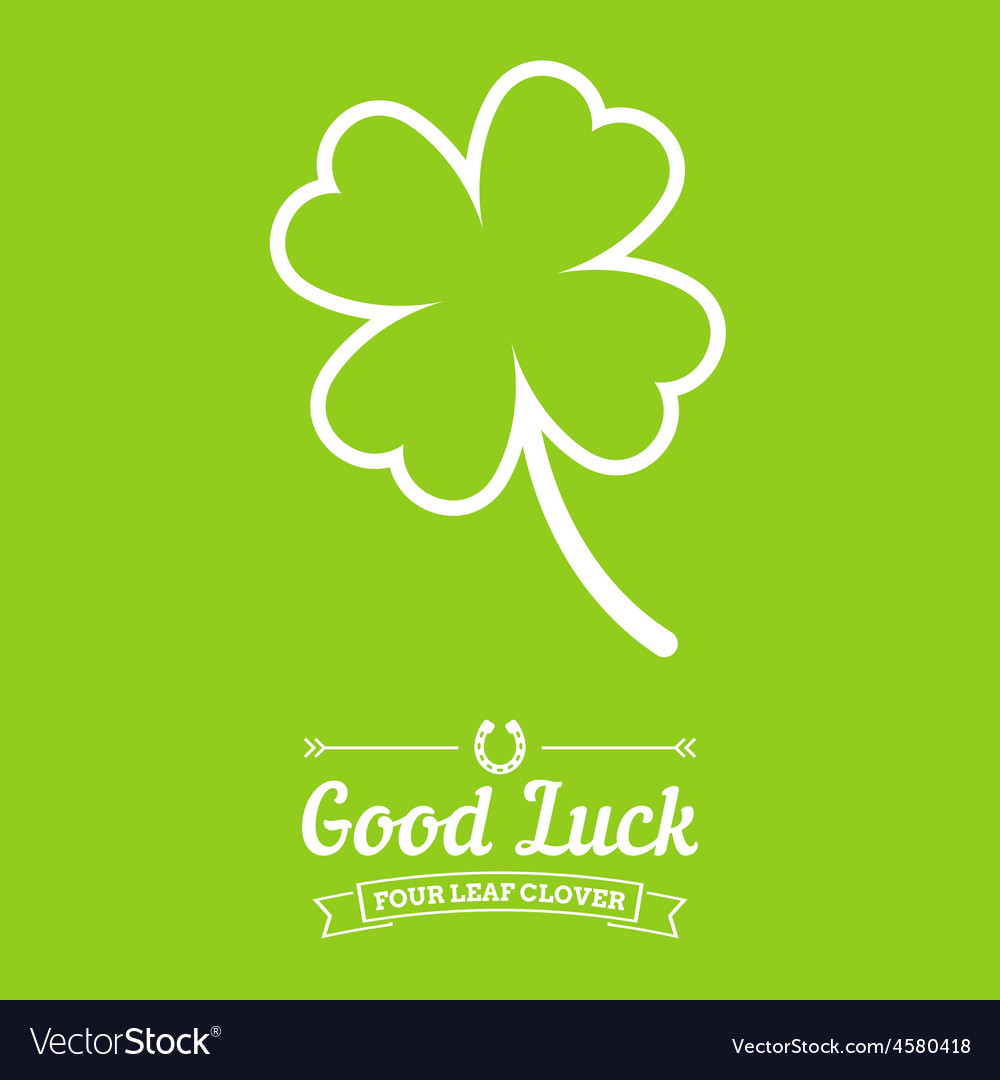 Four leaf clover background with text badges vector