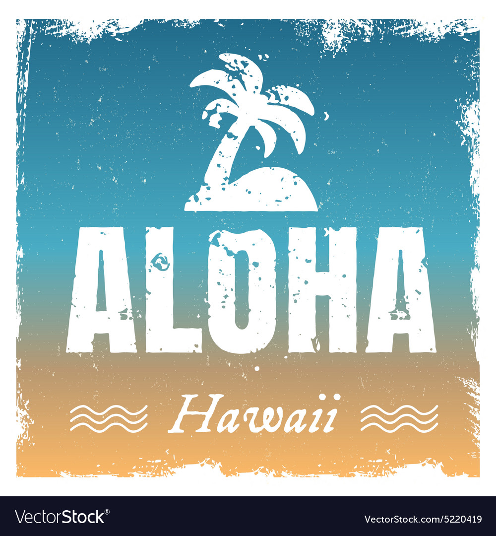 Aloha with hot beach colors retro vector