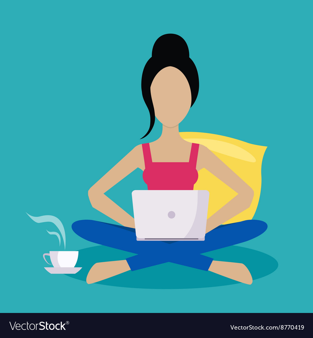 Girl sitting at home working freelance vector