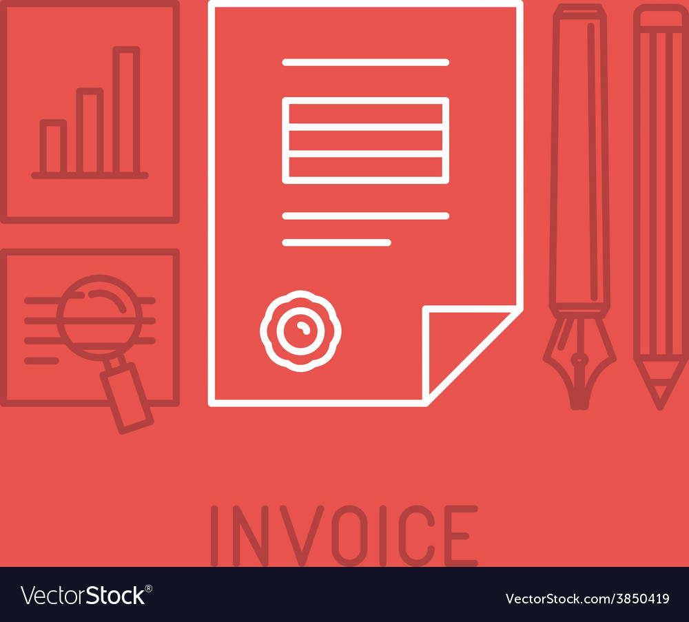 Invoice concept in outline style vector