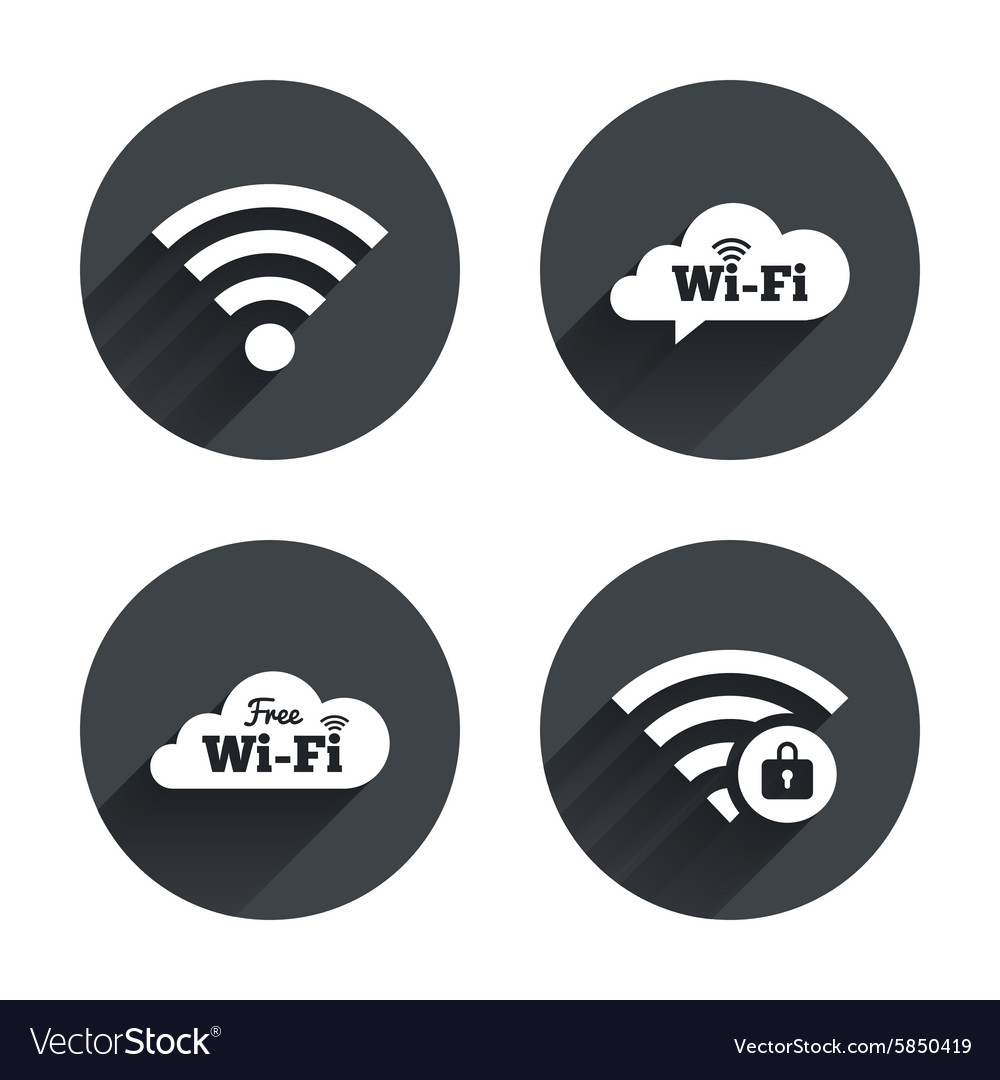 Wifi wireless network icons wifi zone locked vector