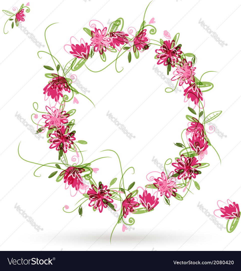 Floral letter o for your design vector