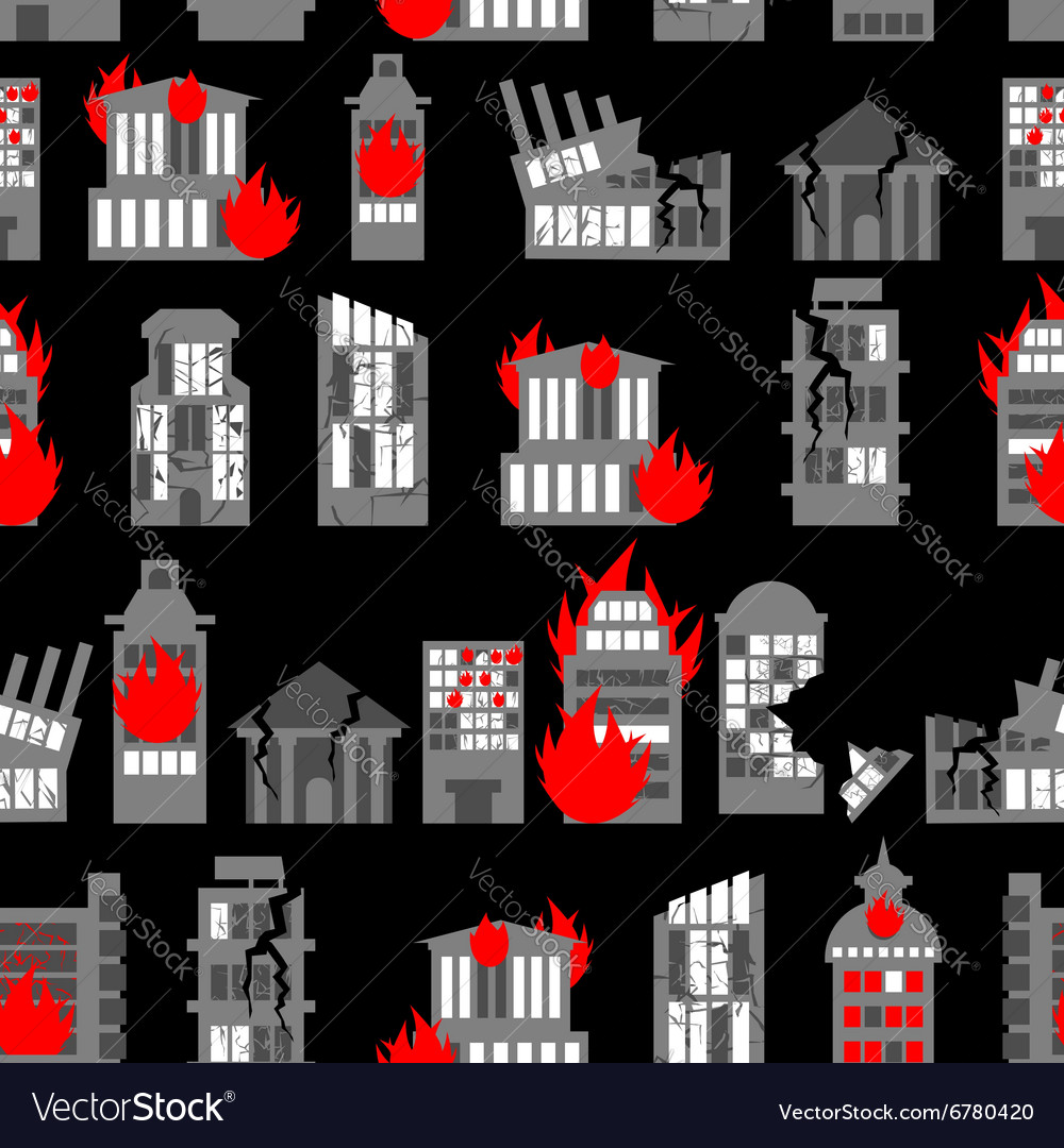 Ruined city seamless pattern ruins of buildings vector