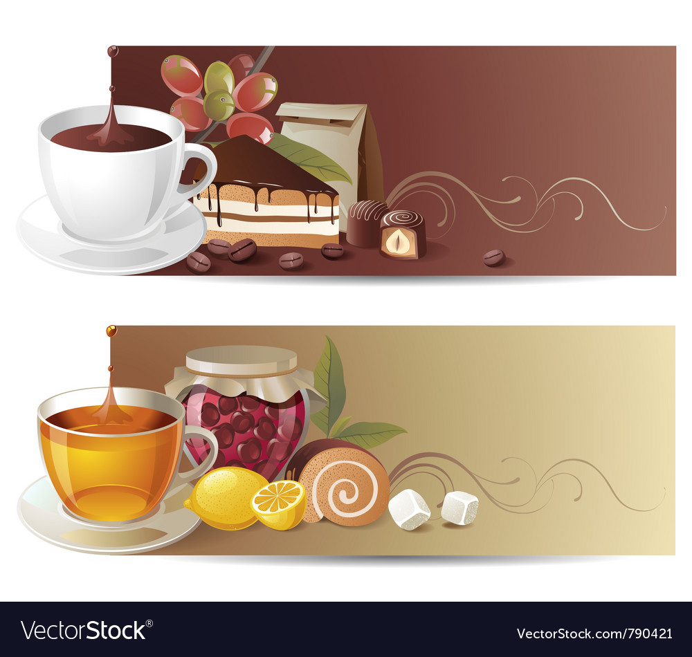 Coffee and tea banners vector