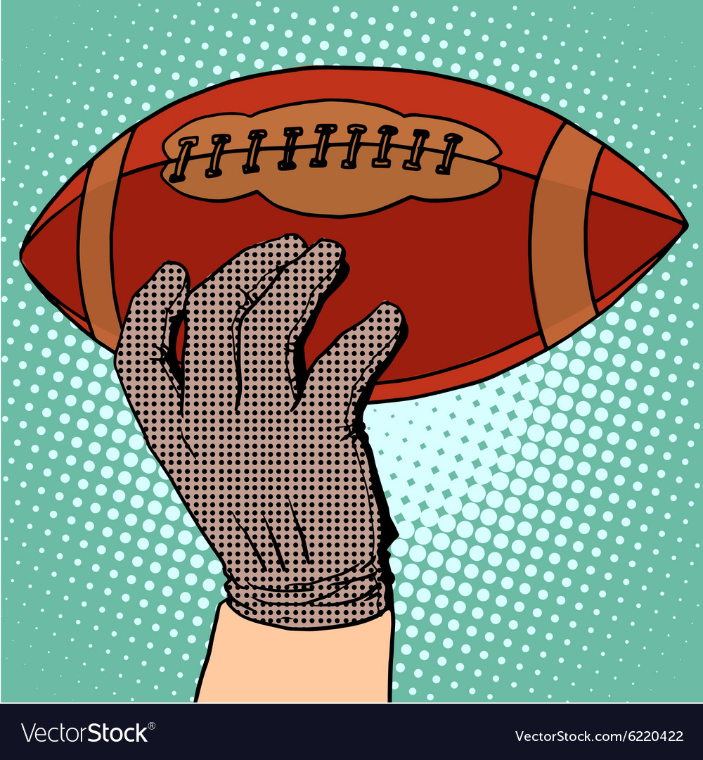Ball of american football in his hand vector