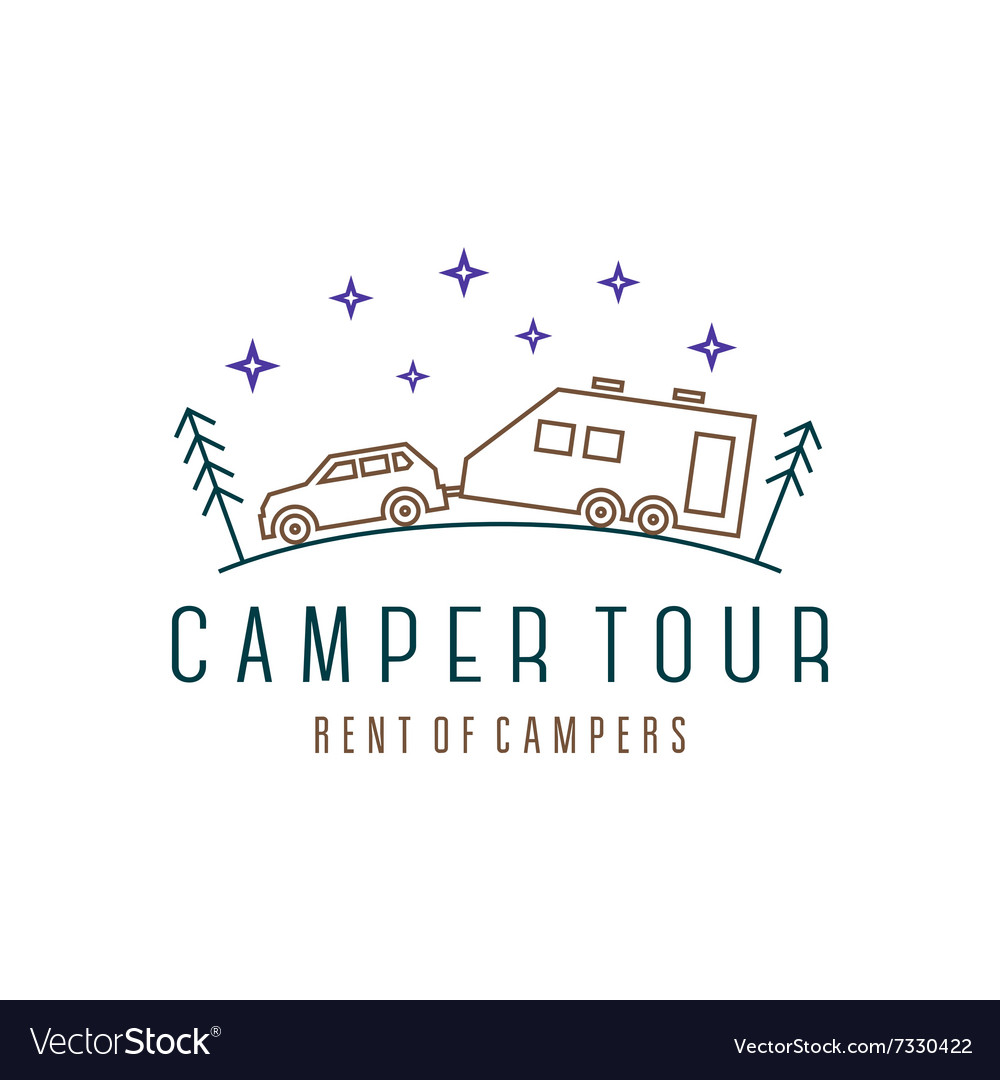 Vehicle with trailer camper in the woods at night vector