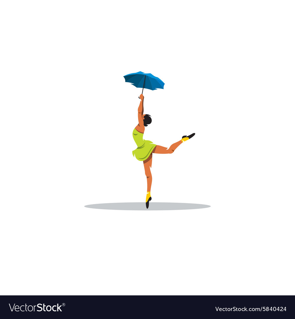 Freedom cheerful girl dancing with an umbrella vector