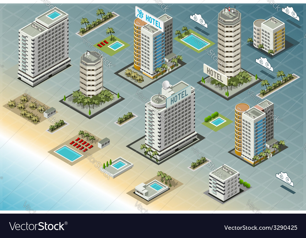 Isometric seaside buildings vector