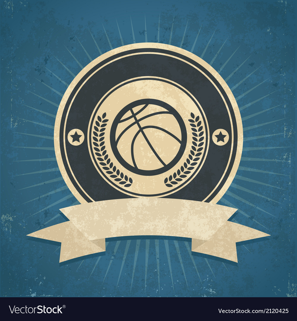 Retro basketball emblem vector