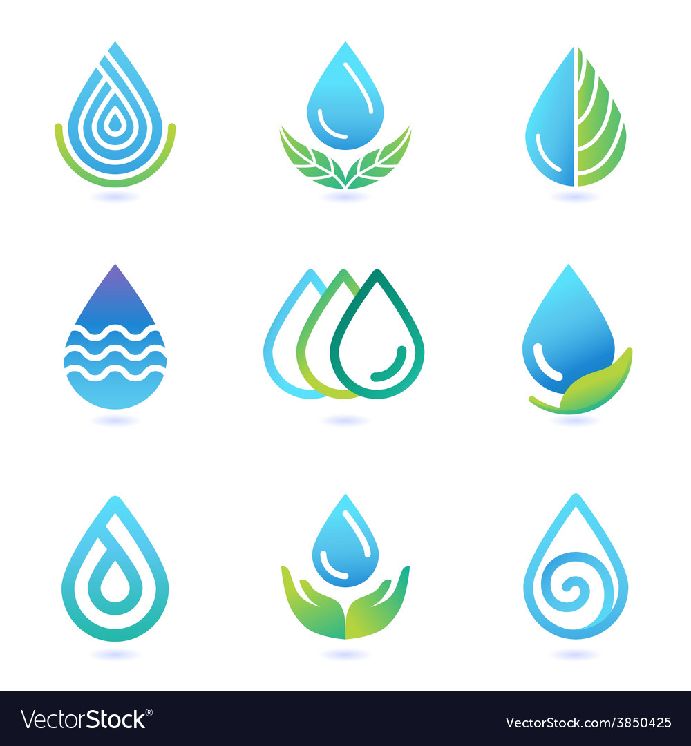 Water and oil logo design elements vector