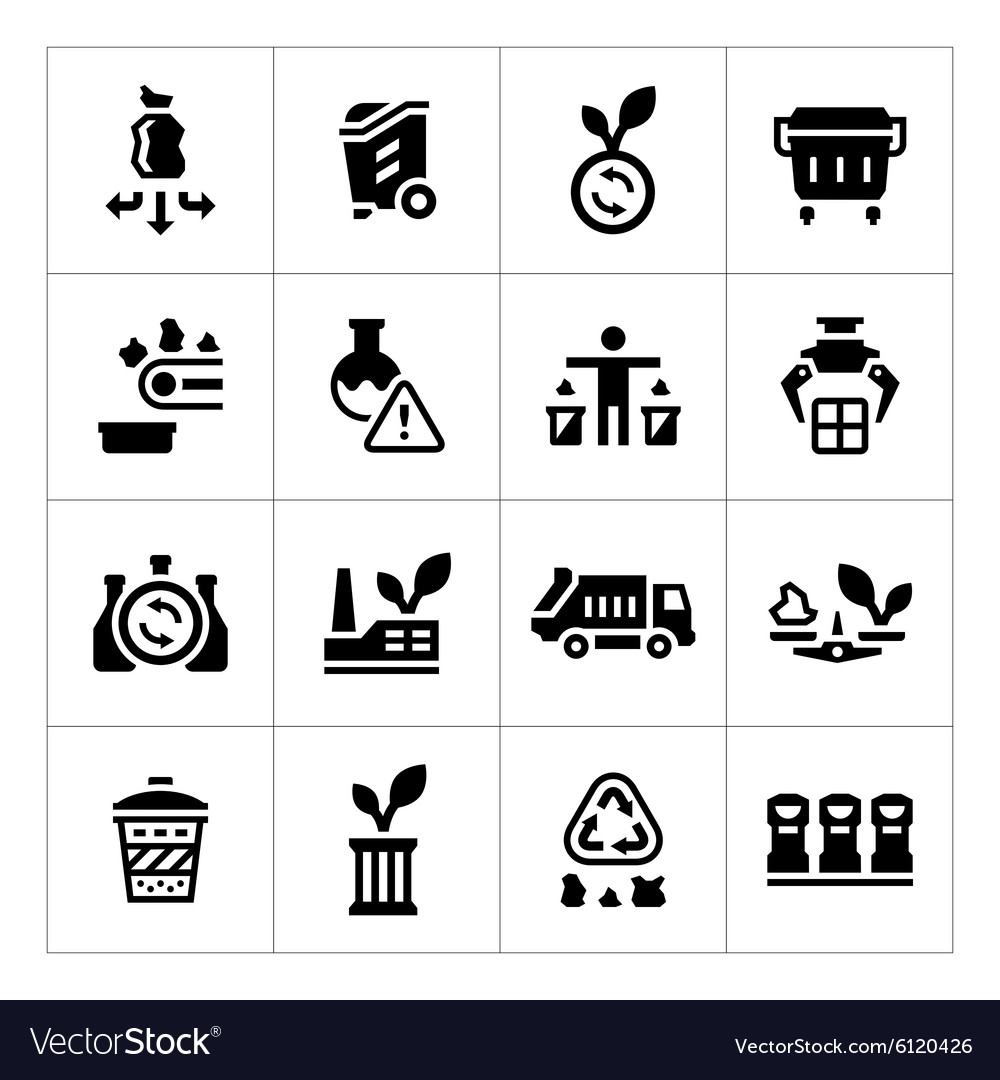 Set icons of recycling vector