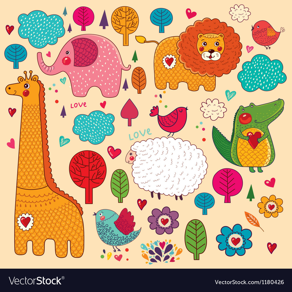 Various animals on colorful background vector