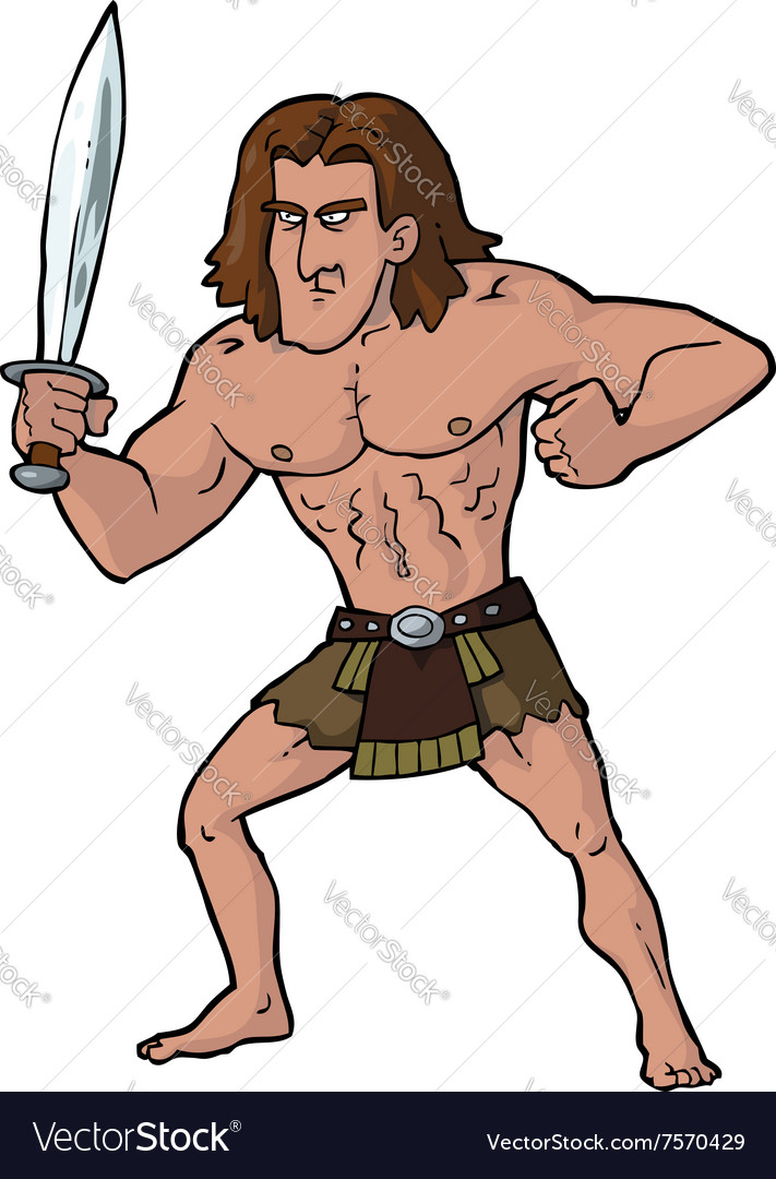 Ancient warrior with sword vector