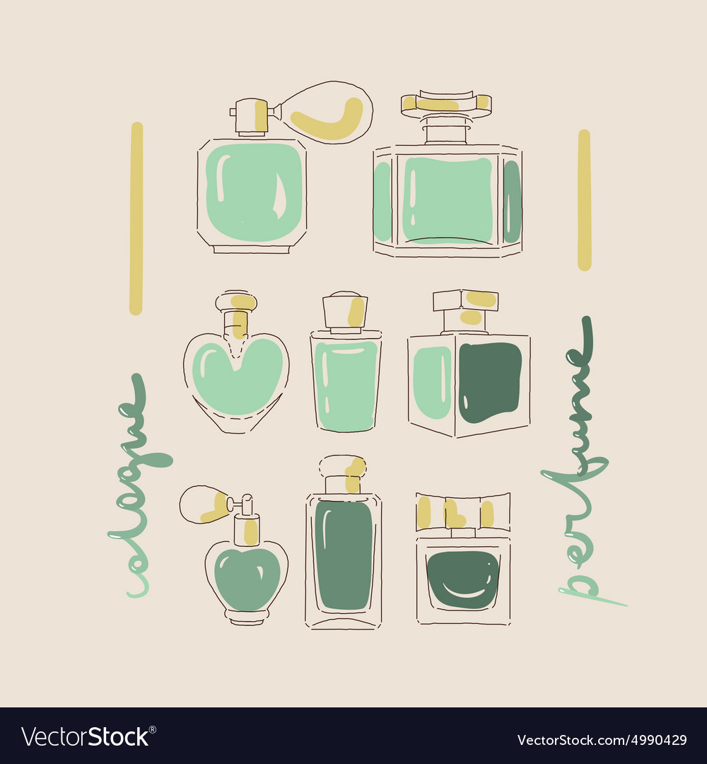 Collection of perfume bottles vector