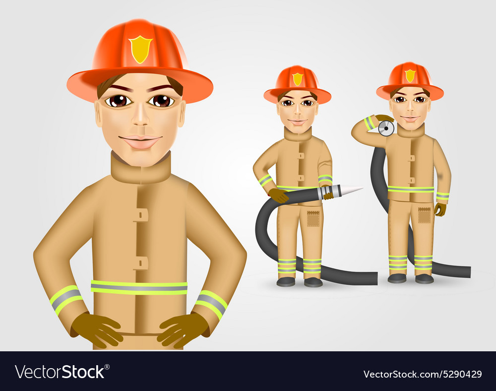 Firefighter in brown uniform holding fire hose vector