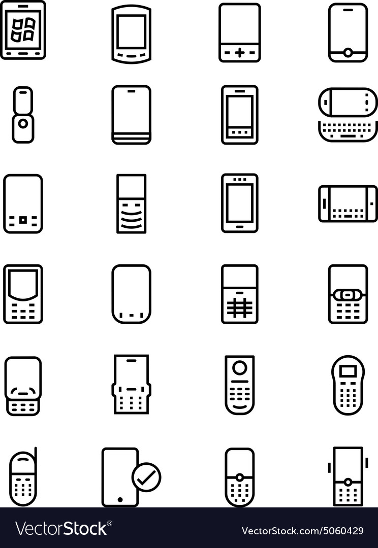 Mobile line icons 2 vector