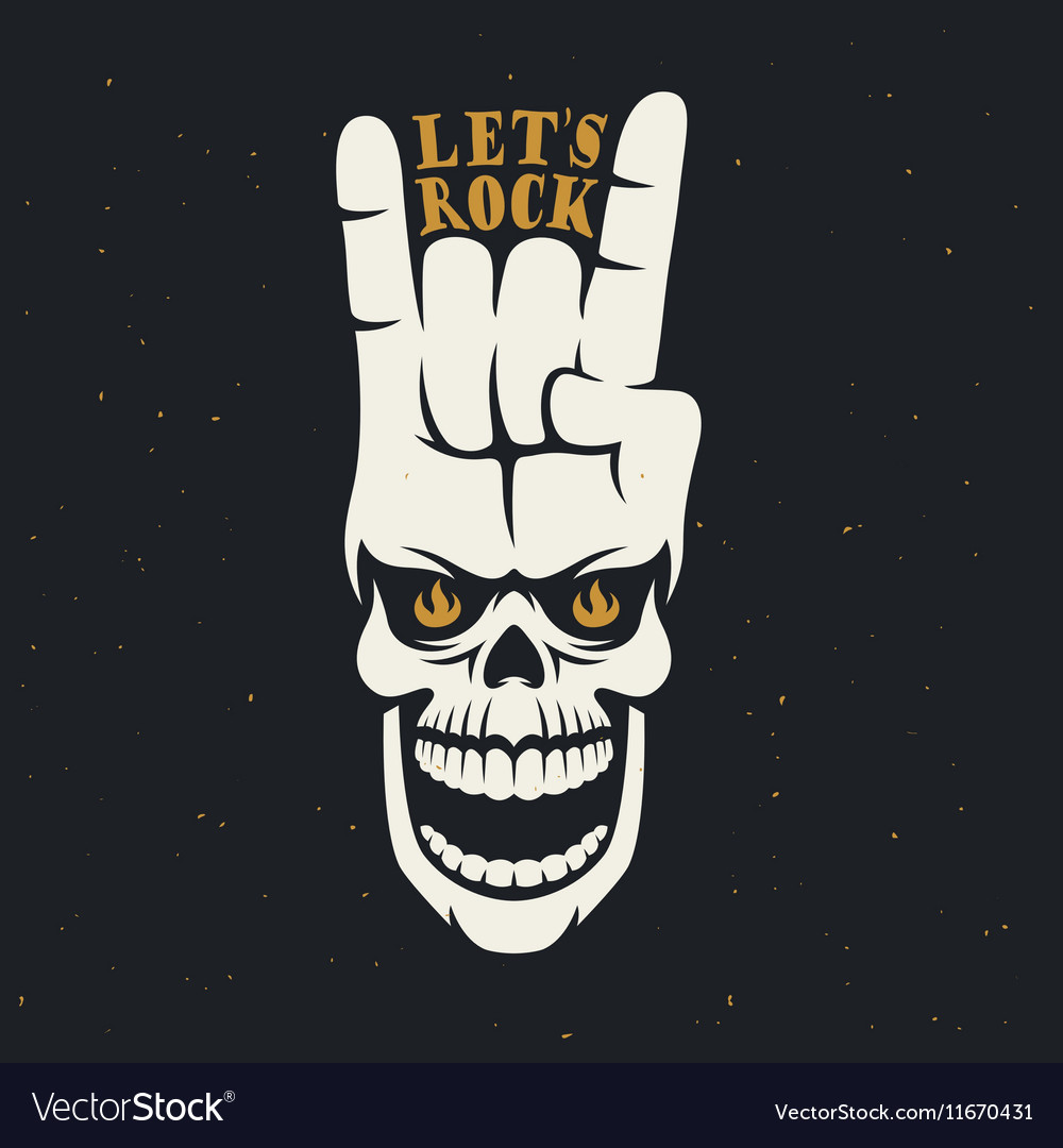 Lets rock music related poster with skull and hand vector