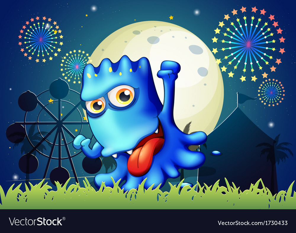 A park with a boastful blue monster vector