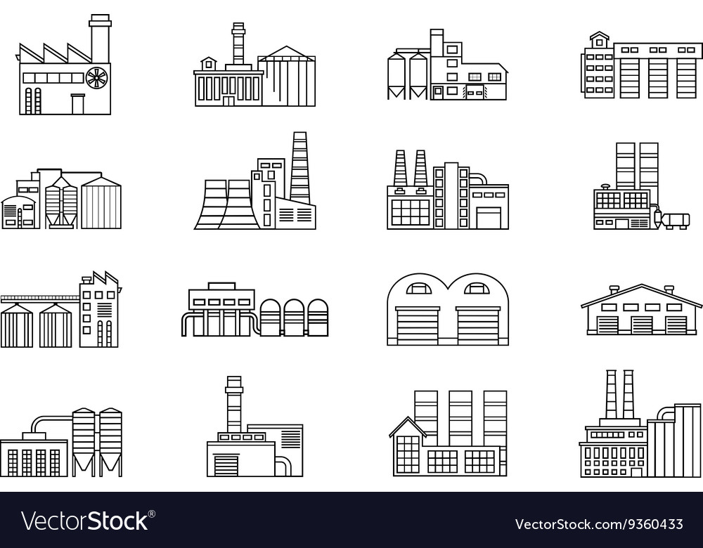 Industrial and manufacturing factory building vector