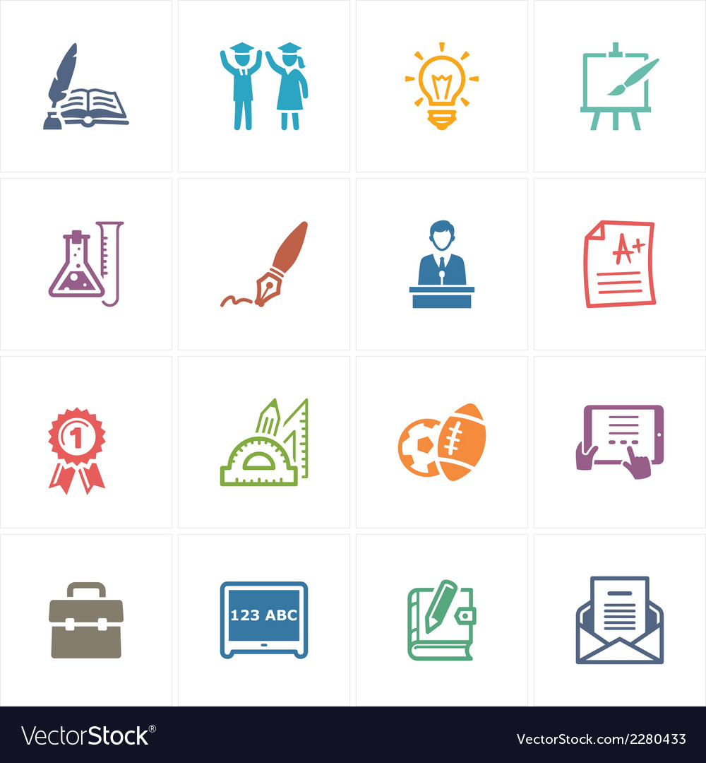 School and education icons set 4  colored series vector