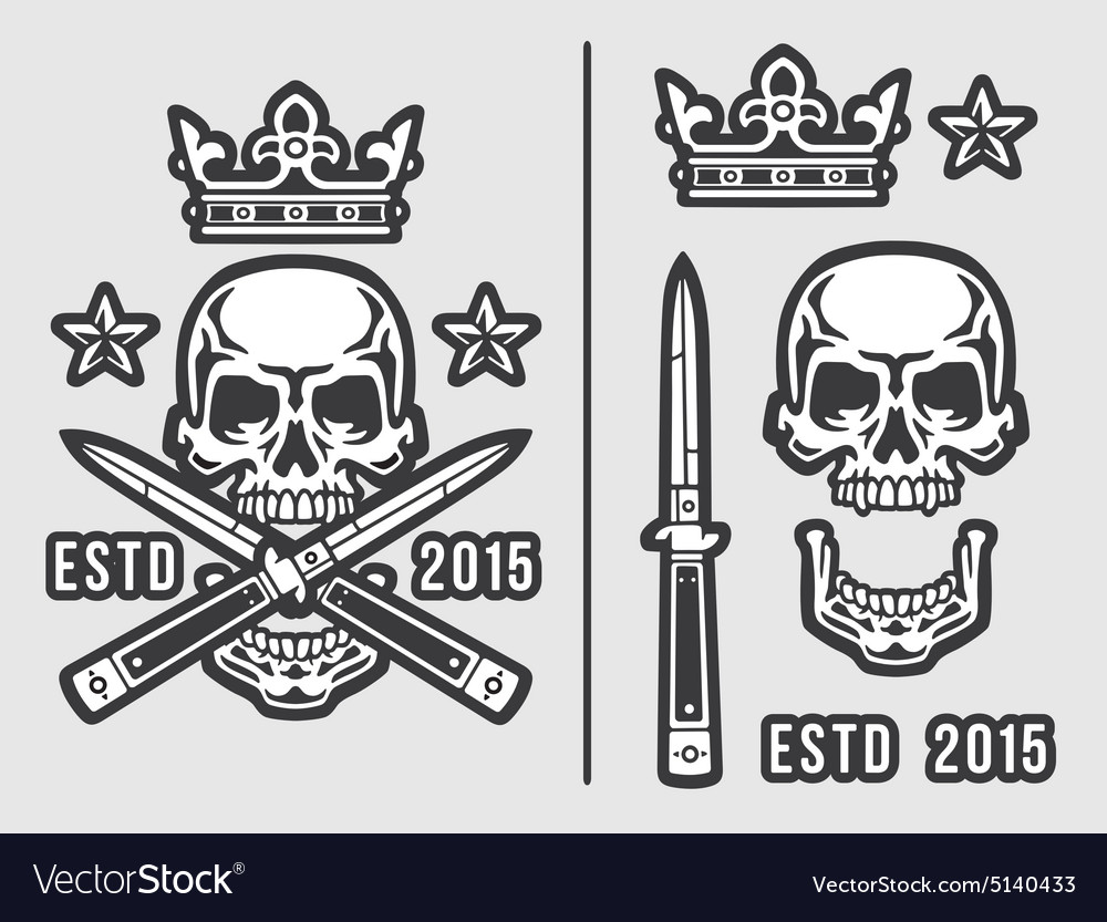 Skull with crossed flick knives and crown vector