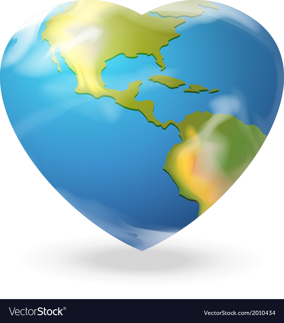 A heartshaped globe vector