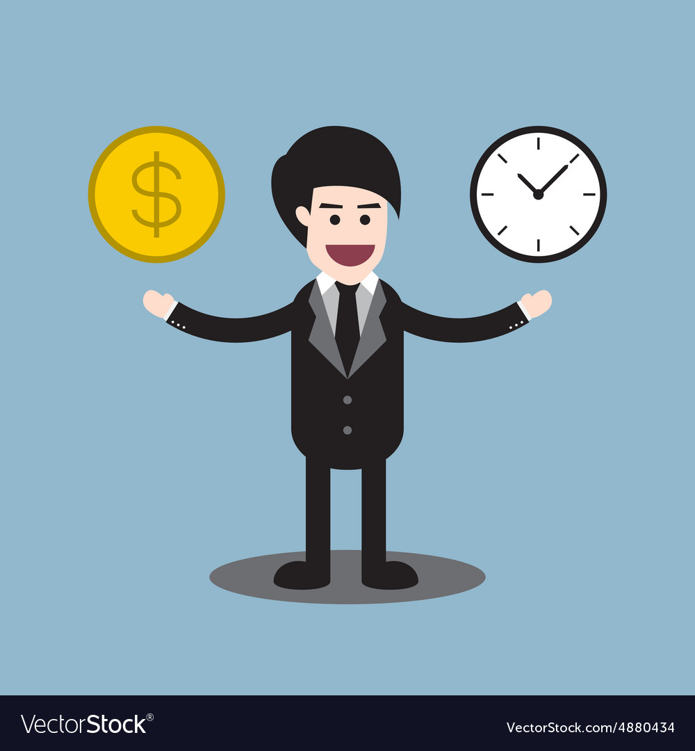 Time and money coin on hands of businessman vector
