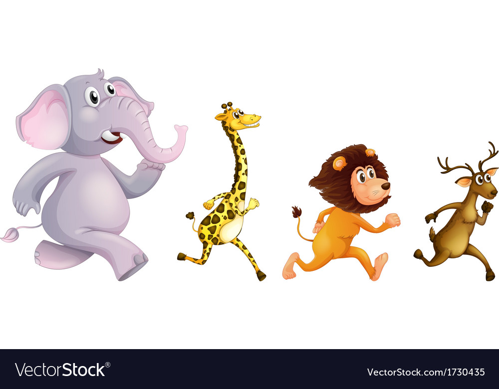 Four wild animals running vector