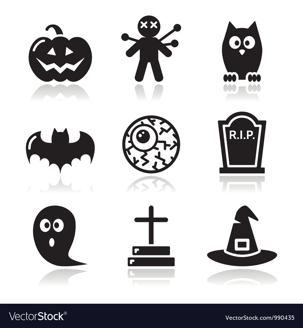 Halloween black icons set  pumpkin witch ghost vector