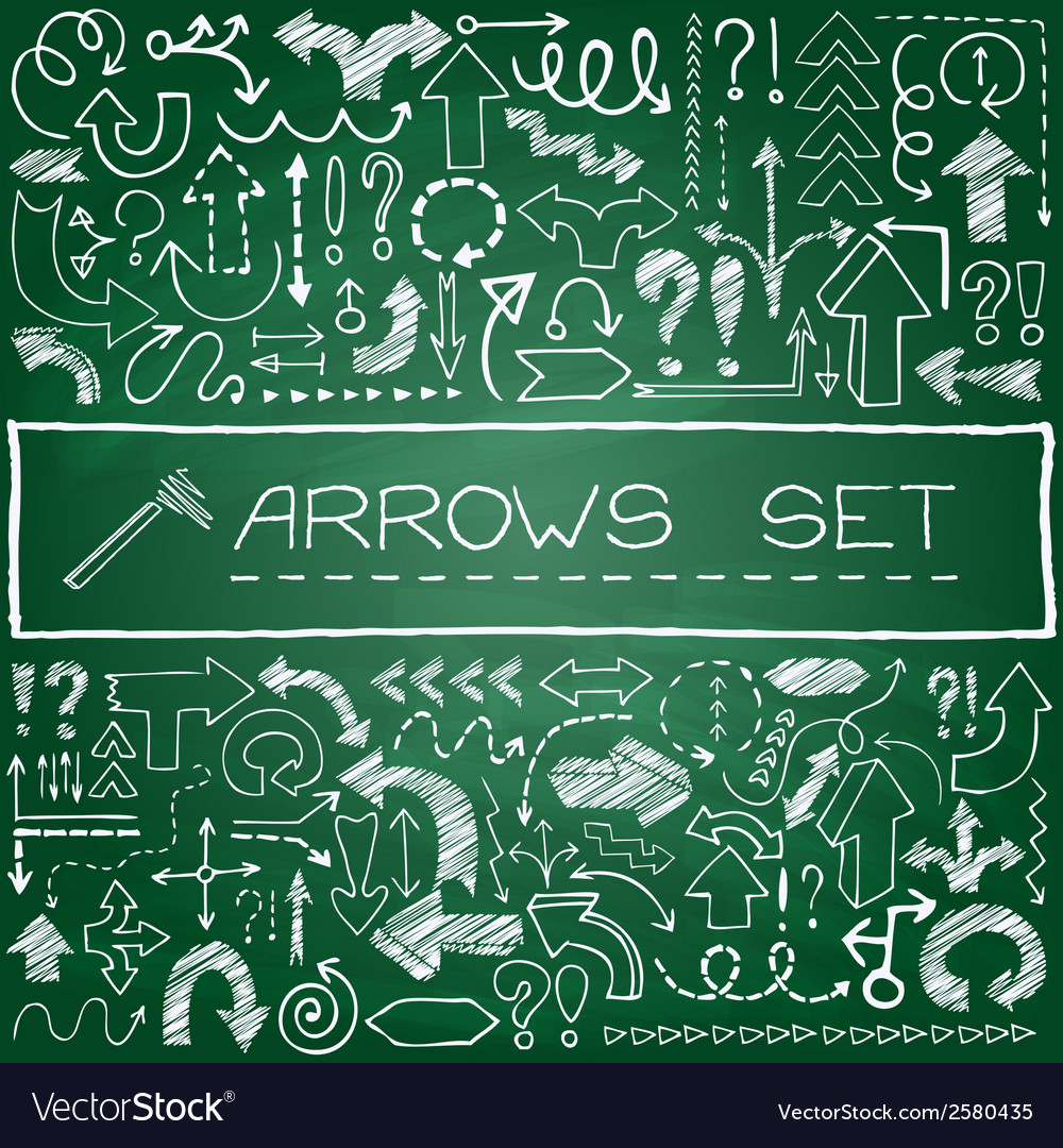 Hand drawn arrow icons set with question and vector