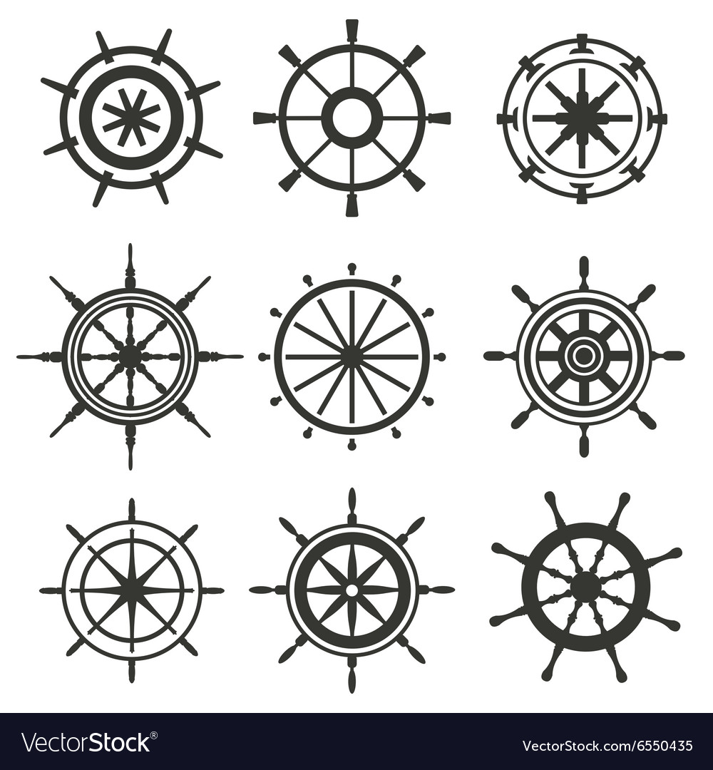 Rudder flat icons set vector