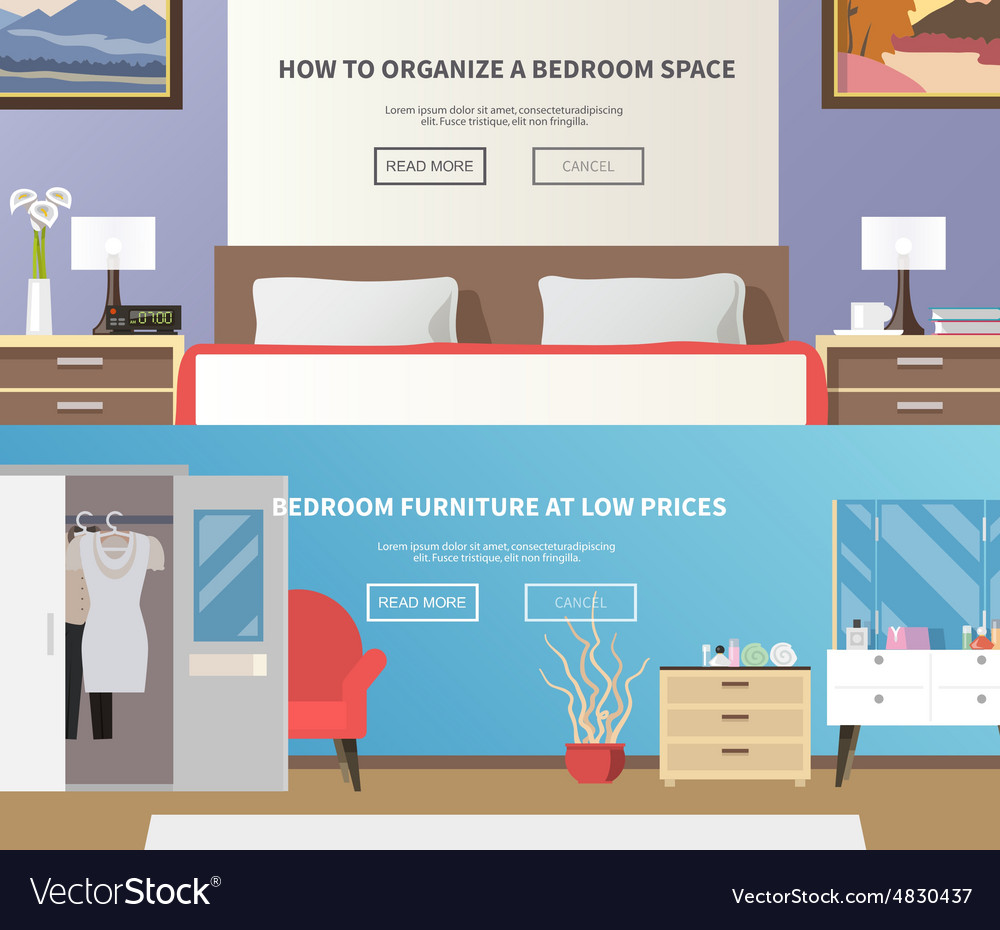 Bedroom furniture banner vector