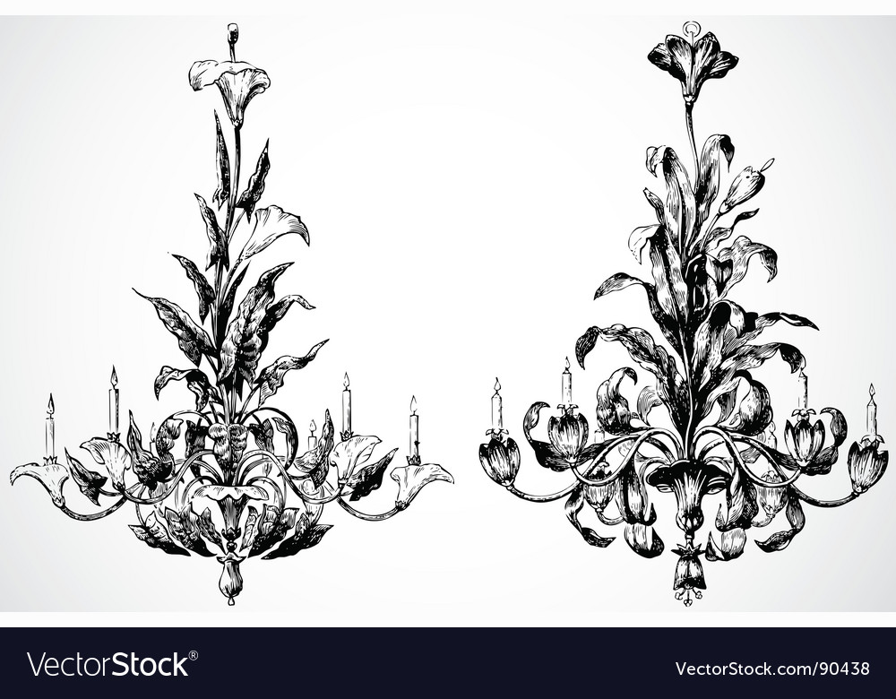 Floral chandaliers vector
