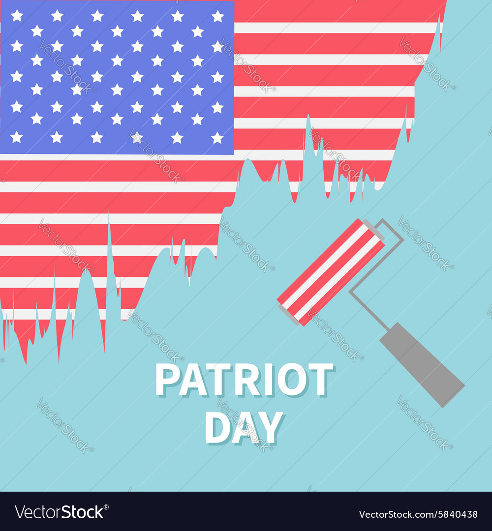 Paint roller brush star and strip flag patriot day vector