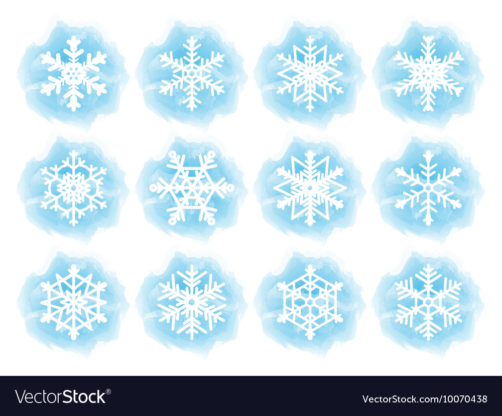 Set of flat snowflake icons vector