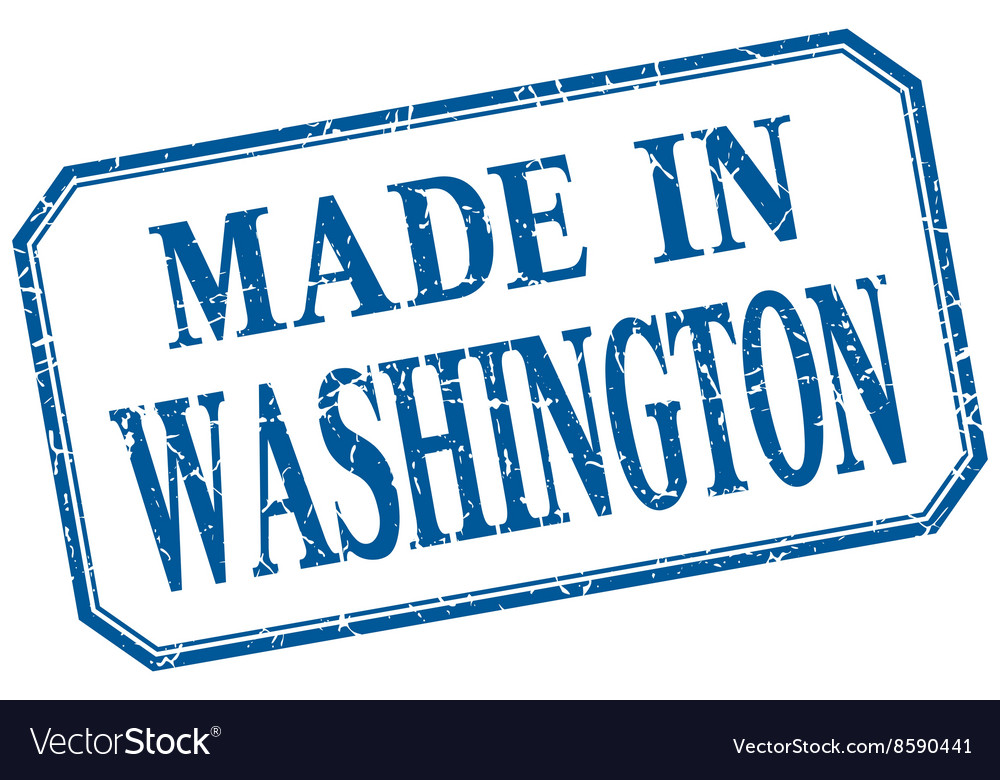 Washington  made in blue vintage isolated label vector