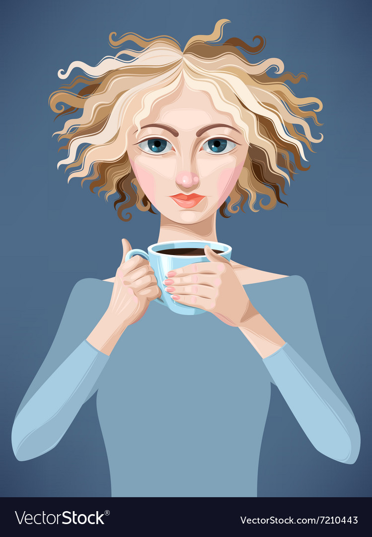 Blonde girl with coffee vector